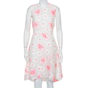Chloe White & Fluo Pink Floral Embroidered Organza Sheath Dress S