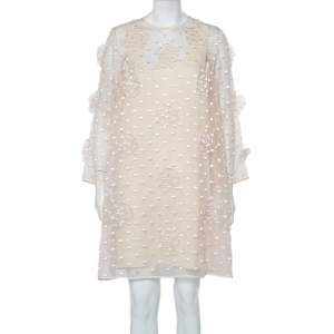 Chloe Light Pink Embroidered Silk Applique Detail Shift Dress M