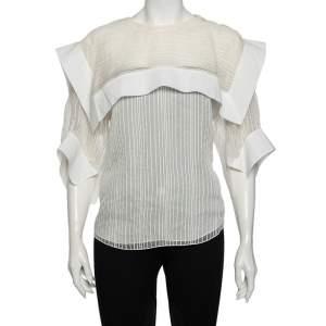 Chloe White Striped Silk & Cotton Overlay Detail Top M