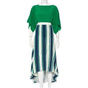 Chloe Green Silk Oversized Top & Striped Asymmetric Hem Skirt S