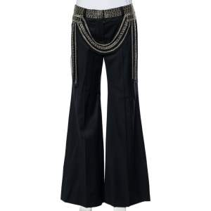 Chloe Vintage Black Wool Embellished Waist Detail Wide Leg Pants M