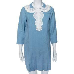 Chloe Blue Eyelet Cotton Pleated Hem Detail Short Dress S