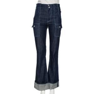 Chloe Indigo Denim Patch Pocket Detail High Waist Jeans S