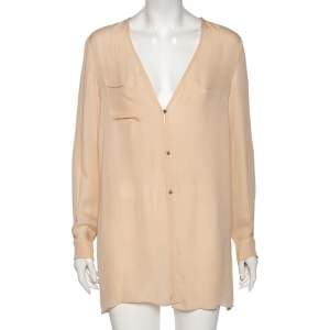 Chloe Peach Silk Pocket Detailed Button Front Oversized Blouse M