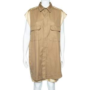 Chloe Beige Silk Coat Overlay Detail Oversized Shift Dress M