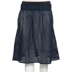 See by Chloe Navy Blue Eyelet Cotton Gathered Waist Detailed Skirt S