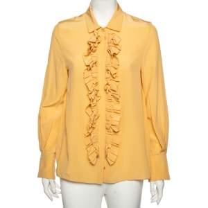 Chloe Golden Beige Silk Ruffled Front Detail Long Sleeve Shirt M