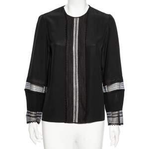 Chloe Black Silk Lace Paneled Long Sleeve Blouse M