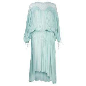 Chloe Light Blue Crinkled Chiffon Lace Detail Long Sleeve Maxi Dress S