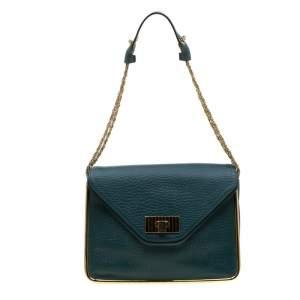 Chloe Green Leather Medium Sally Flap Shoulder Bag