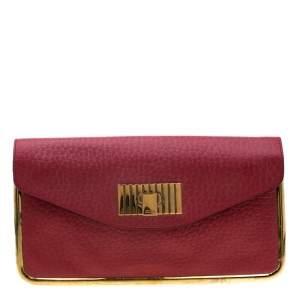 حقيبة كلتش كلوي سالي جلد حمراء