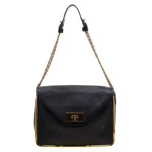 Chloe Black Leather Sally Medium Shoulder Bag
