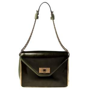 Chloe Olive Green Leather and Patent Leather Medium Sally Flap Shoulder Bag