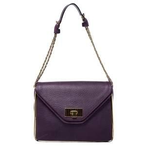 Chloe Purple Leather Medium Sally Shoulder Bag
