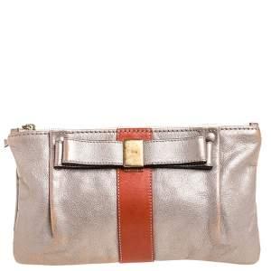 Chloe Metallic Silver Leather Nicosi Pouch