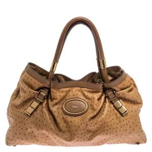Chloe Brown Ostrich Embossed Leather Victoria Tote