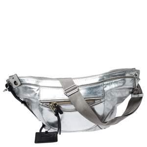 Chloe Metallic Silver Leather Fanny Crossbody Bag
