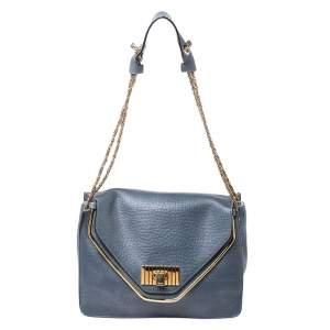 Chloe Grey Leather Medium Sally Flap Shoulder Bag