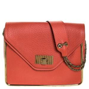 Chloe Coral Orange Leather Sally Medium Shoulder Bag
