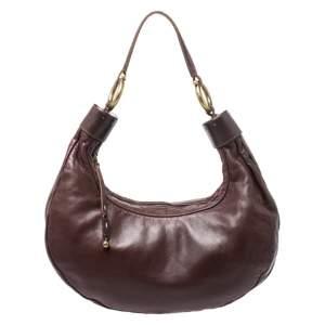 حقيبة كلوي أيقونة جلد بنية داكنة