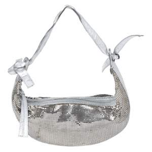 Chloe Silver Metal Mesh and Leather Chainmail Hobo