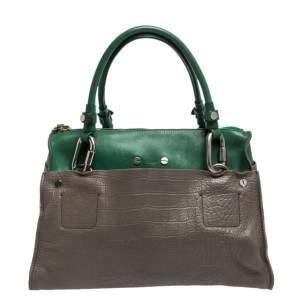 حقيبة كلوي جلد نقشة التمساح رصاصي/ أخضر بإبزيم