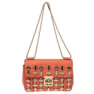 حقيبة كتف  كلوي السي جلد برتقالي مزخرفة بالكريستال متوسطة