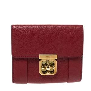 Chloe Red Leather Compact Wallet