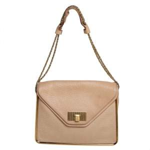 Chloe Beige Leather Sally Medium Shoulder Bag
