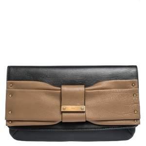 Chloe Black/Beige Leather Bow Flap Clutch