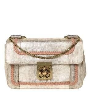 Chloe Gold Lizard Effect Leather Medium Braided Detail Elsie Shoulder Bag