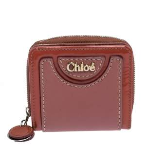 Chloe Pink/Orange Leather Compact Wallet