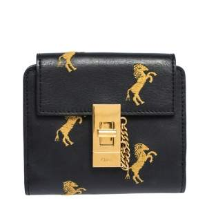Chloe Dark Blue Leather Drew Compact Wallet