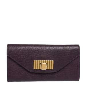 Chloe Purple Leather Sally Continental Wallet