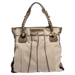 Chloe Beige Canvas and Leather Large Heloise Shoulder Bag