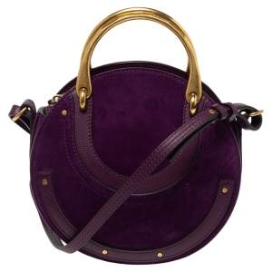 Chloe Purple Leather and Suede Pixie Round Crossbody Bag