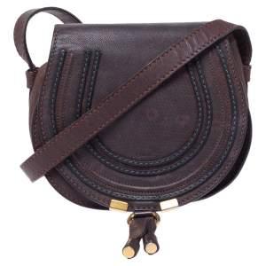 Chloe Dark Brown Lizard Embossed Leather Mini Marcie Crossbody Bag