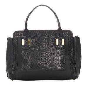 Chloe Black Embossed Leather Alison Satchel Bag