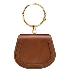 Chloe Brown Leather and Suede Small Nile Bracelet Shoulder Bag