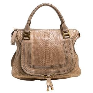 Chloe Beige Python and Leather Large Marcie Satchel