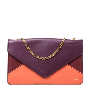 Chloe Tri Color Leather Chain Clutch