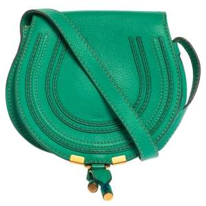Chloe Green Leather Mini Marcie Crossbody Bag