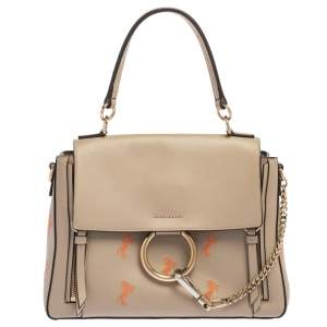 Chloe beige Leather Small Embroidered Faye Day Shoulder Bag