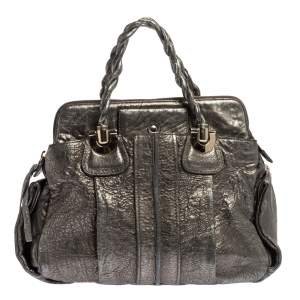 Chloe Metallic Textured Leather Heloise Satchel