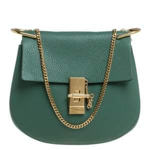Chloe Green Leather Medium Drew Shoulder Bag