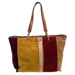 Chloe Multicolor Suede and Leather Keri Striped Tote