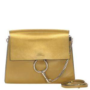 Chloe Yellow Leather and Suede Faye Bag