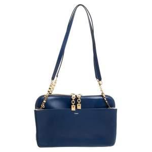 Chloe Navy Blue Leather Side Pocket Chain Shoulder Bag