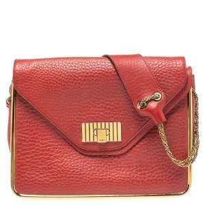 Chloe Cinammon Red Leather Medium Sally Flap Shoulder Bag