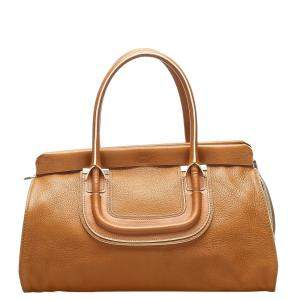 Chloe Brown Calfskin Leather Everston Bag